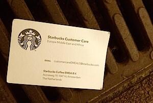 het verhaal achter het verloren Starbucks visitekaartje